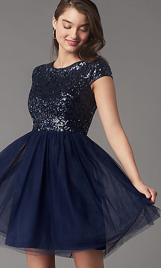 Sequin-Bodice Short Homecoming Dress by PromGirl