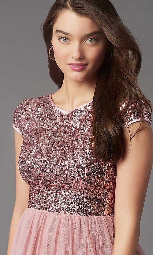 Image of sequin-bodice short homecoming dress by PromGirl. Style: LP-PL-26547 Detail Image 6