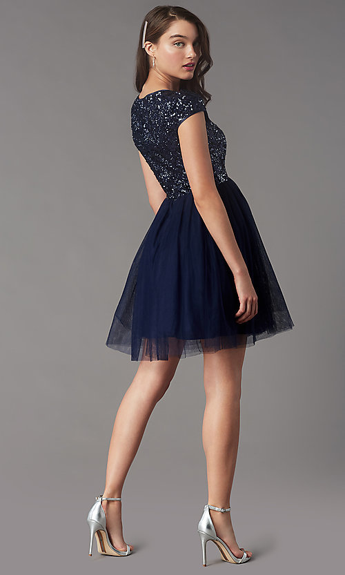 Image of sequin-bodice short homecoming dress by PromGirl. Style: LP-PL-26547 Back Image