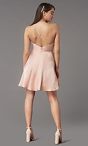 Image of short pleated-bodice homecoming dress by Simply. Style: LP-SD-MG20139 Back Image