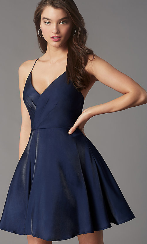 Image of short pleated-bodice homecoming dress by Simply. Style: LP-SD-MG20139 Detail Image 6