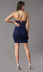 Image of square-neck tight short hoco party dress by Simply. Style: LP-SD-MG26503 Back Image
