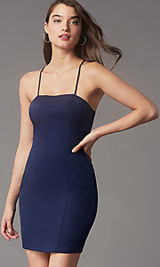 Image of square-neck tight short hoco party dress by Simply. Style: LP-SD-MG26503 Detail Image 1