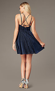 Image of short glitter-knit homecoming dress by PromGirl. Style: LP-PL-26493 Back Image