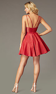 Image of metallic-knit a-line short homecoming dress. Style: DQ-3183 Back Image