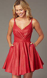 Image of metallic-knit a-line short homecoming dress. Style: DQ-3183 Detail Image 1