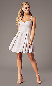Image of short sweetheart glitter-knit homecoming dress. Style: DQ-3143 Front Image