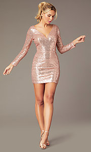 Image of long-sleeve short sequin party dress by PromGirl. Style: MCR-PL-2879 Front Image
