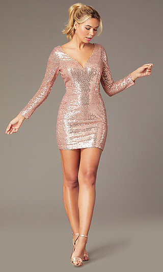 Long-Sleeve Short Sequin Party Dress by PromGirl