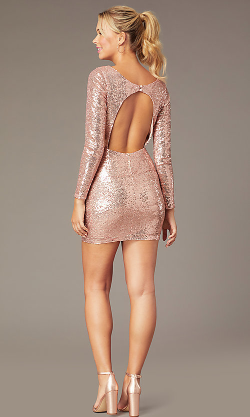 Image of long-sleeve short sequin party dress by PromGirl. Style: MCR-PL-2879 Back Image