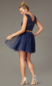 Image of navy two-piece short homecoming dress by PromGirl. Style: MCR-PL-2878 Back Image