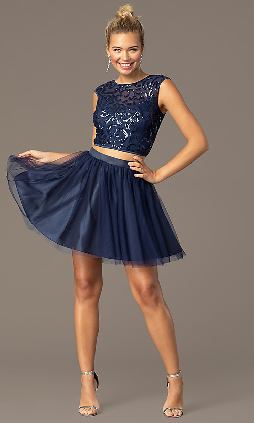 Image of navy two-piece short homecoming dress by PromGirl. Style: MCR-PL-2878 Front Image