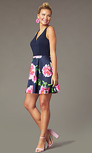 Image of short print-skirt homecoming dress by PromGirl. Style: MCR-PL-2906 Front Image
