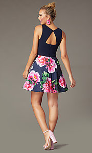 Image of short print-skirt homecoming dress by PromGirl. Style: MCR-PL-2906 Back Image