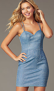 Image of PromGirl short glitter-knit blue homecoming dress. Style: DQ-PL-3131 Detail Image 1