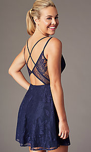 Image of lace short homecoming party dress with deep v-neck. Style: MT-9928-1 Detail Image 5