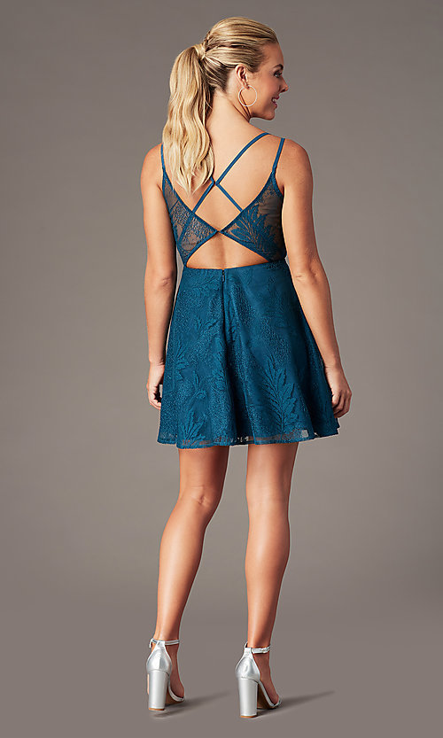 Image of lace short homecoming party dress with deep v-neck. Style: MT-9928-1 Front Image