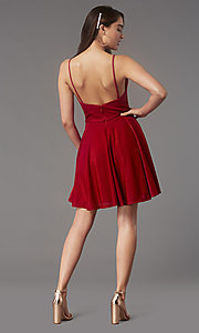 Image of short glitter semi-formal hoco dress with pockets. Style: FB-GS2837 Back Image