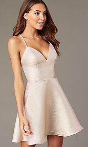 Image of short metallic-knit rose gold v-neck hoco dress. Style: FB-GS2838 Front Image