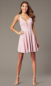 Image of mauve pink metallic-knit short v-neck hoco dress. Style: FB-GS2839 Front Image