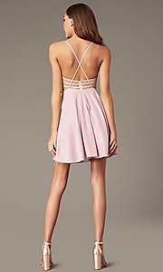 Image of mauve pink metallic-knit short v-neck hoco dress. Style: FB-GS2839 Back Image
