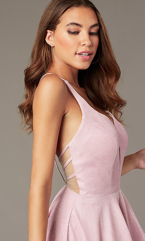 Image of mauve pink metallic-knit short v-neck hoco dress. Style: FB-GS2839 Detail Image 1