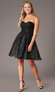 Image of sparkly short homecoming dress in glitter mesh. Style: FB-GS2868 Detail Image 1