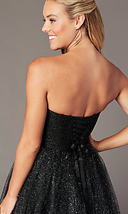 Image of sparkly short homecoming dress in glitter mesh. Style: FB-GS2868 Detail Image 3