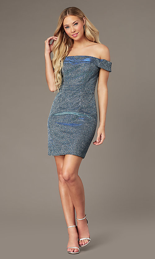 Image of short glitter homecoming dress by Elizabeth K. Style: FB-GS2856 Detail Image 1