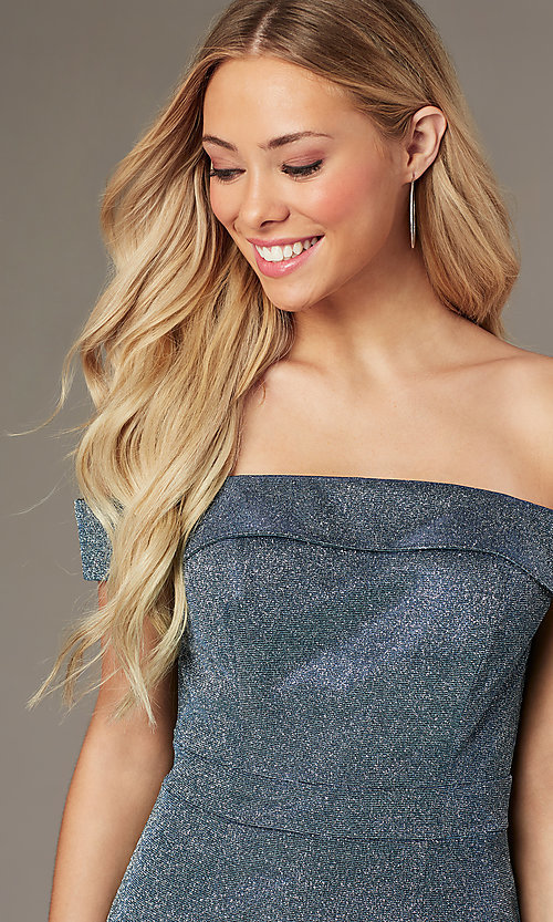 Image of short glitter homecoming dress by Elizabeth K. Style: FB-GS2856 Detail Image 2