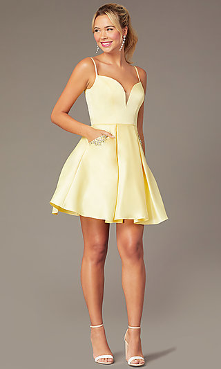 Caged-Back Short Skater-Skirt Hoco Party Dress