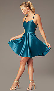 Image of sweetheart short open-back party dress with corset. Style: NA-M658 Front Image