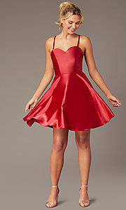 Image of sweetheart short open-back party dress with corset. Style: NA-M658 Detail Image 5
