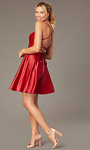 Image of sweetheart short open-back party dress with corset. Style: NA-M658 Detail Image 6