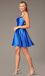 Image of sweetheart short open-back party dress with corset. Style: NA-M658 Detail Image 2