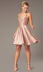 Image of sweetheart short open-back party dress with corset. Style: NA-M658 Detail Image 7
