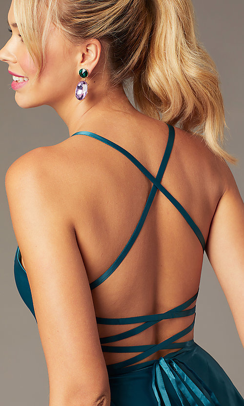 Image of sweetheart short open-back party dress with corset. Style: NA-M658 Detail Image 1