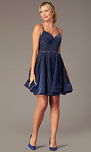Image of short glitter-knit hoco dress by PromGirl. Style: NA-PL-T681 Front Image