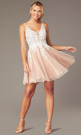 Short Tan Homecoming Party Dress by PromGirl