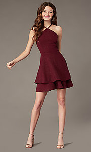 Image of short burgundy red glitter homecoming dress. Style: SS-D75791J593 Front Image