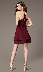 Image of short burgundy red glitter homecoming dress. Style: SS-D75791J593 Back Image