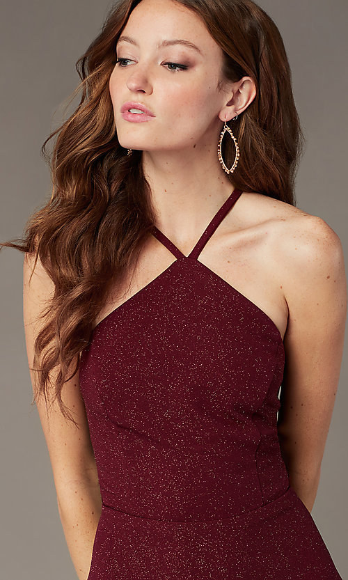 Image of short burgundy red glitter homecoming dress. Style: SS-D75791J593 Detail Image 1