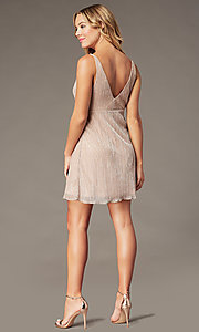 Image of empire-waist short hoco dress in metallic crepe. Style: SS-D79361DCP Back Image