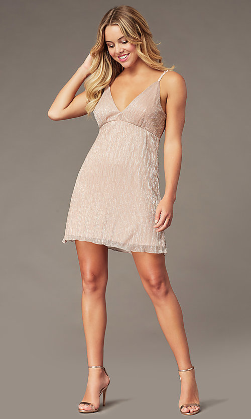 Image of empire-waist short hoco dress in metallic crepe. Style: SS-D79361DCP Detail Image 2