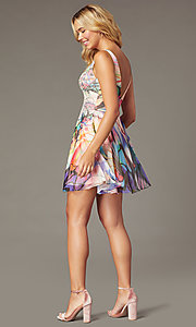 Image of short watercolor-print party dress by PromGirl. Style: TE-PL-4212 Back Image