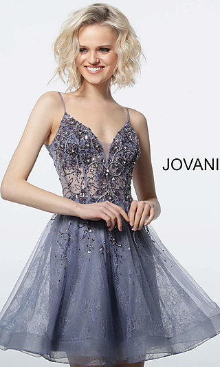 Short Babydoll Homecoming Dress with an Open Back