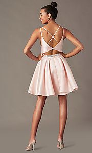 Image of short taffeta homecoming party dress by PromGirl. Style: FB-PL-GS2844 Detail Image 4