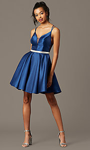 Image of short taffeta homecoming party dress by PromGirl. Style: FB-PL-GS2844 Detail Image 7