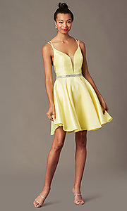 Image of short taffeta homecoming party dress by PromGirl. Style: FB-PL-GS2844 Detail Image 5