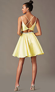 Image of short taffeta homecoming party dress by PromGirl. Style: FB-PL-GS2844 Detail Image 6
